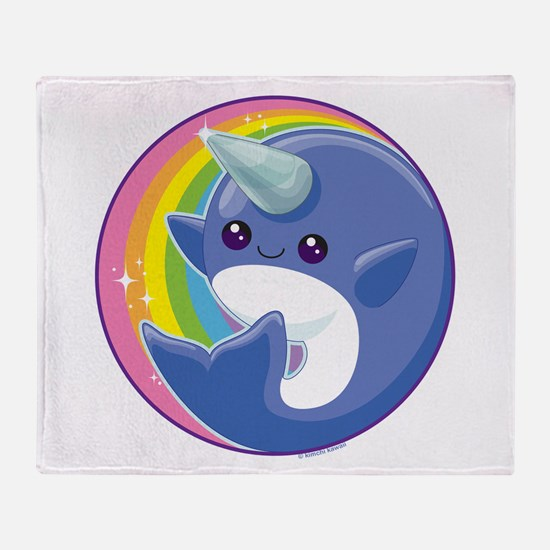 Kawaii Narwhal Throw Blanket