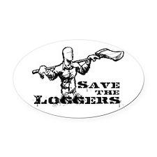 LoggersPoster.jpg Oval Car Magnet