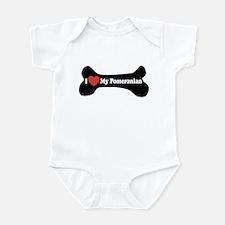 I Love My Pomeranian - Dog Bone Infant Bodysuit