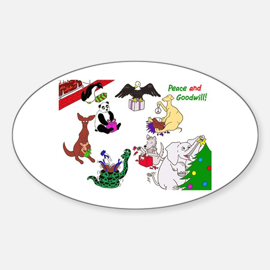 Christmas Card For The World Sticker (Oval)