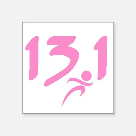 """Pink 13.1 half-marathon Square Sticker 3"""" x 3"""""""