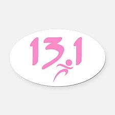 Pink 13.1 half-marathon Oval Car Magnet