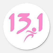 Pink 13.1 half-marathon Round Car Magnet