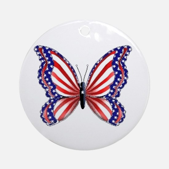 Patriotic Butterfly Ornament (Round)