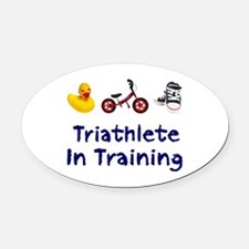 Triathlete in Training Oval Car Magnet