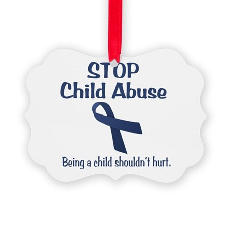 Stop Child Abuse It Hurts Picture Ornament