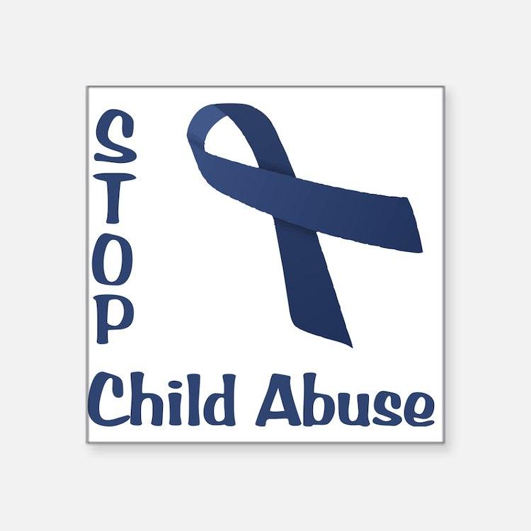 "Stop Child Abuse Square Sticker 3"" x 3"""