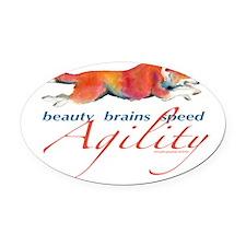 BeautyBrainsSpeed.png Oval Car Magnet