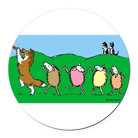 Pied Piper Sheltie Round Car Magnet