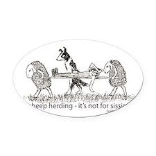 Sheep Herding Oval Car Magnet