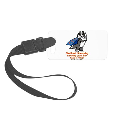 BlackSuperSheltie.png Small Luggage Tag