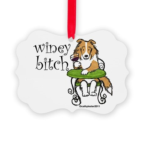 wineybitchsheltie.png Picture Ornament