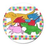 Herd o pups.png Round Car Magnet