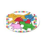 Herd o pups.png Oval Car Magnet