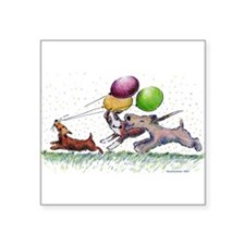 "DogballoonParty_std.png Square Sticker 3"" x 3"""