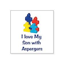 """Love Aspergers Son Square Sticker 3"""" x 3"""""""