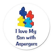 Love Aspergers Son Round Car Magnet