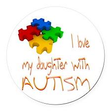 Autistic Daughter Round Car Magnet