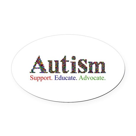 Autism - Support. Educate. Advocate Oval Car Magne
