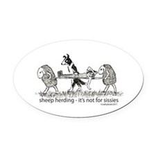 sheepherdingsissies.png Oval Car Magnet