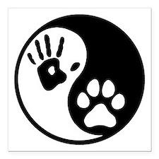 "Human & Dog Yin Yang Square Car Magnet 3"" x 3"""