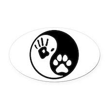 Human & Dog Yin Yang Oval Car Magnet