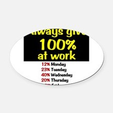 100% Oval Car Magnet