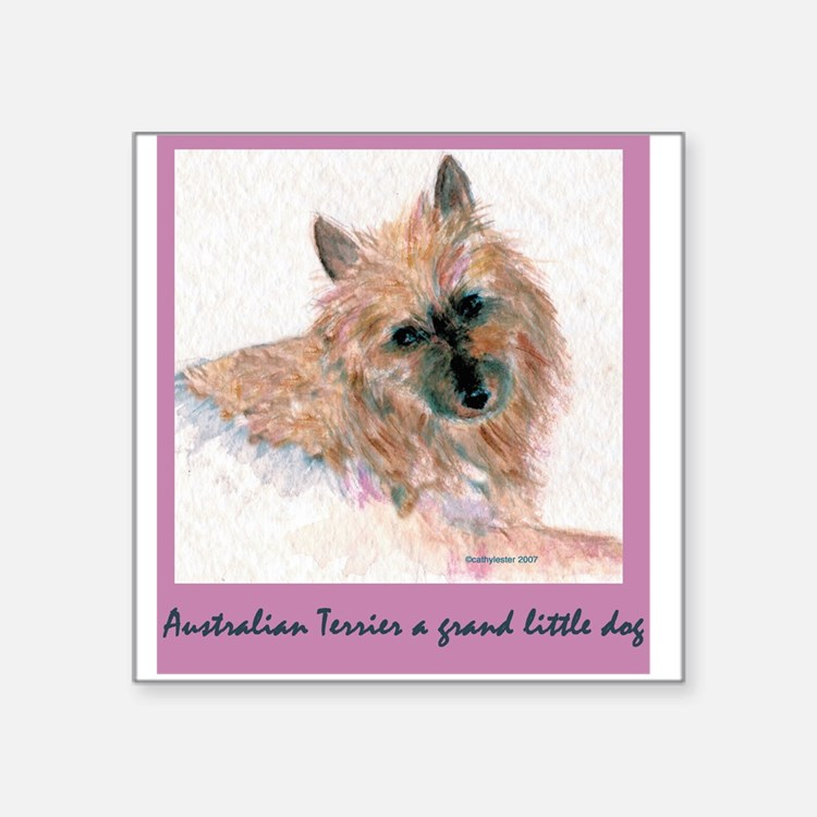 Red Australian Terrier FACE.png Square Sticker 3""