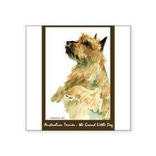 "Red AustralianTerrierBeg.png Square Sticker 3"" x 3"