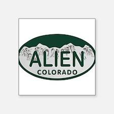 """Alien Colo License Plate Square Sticker 3"""" x 3"""""""