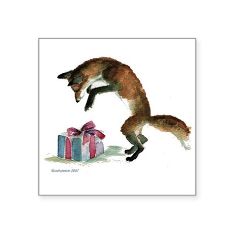 "foxpresent.jpg Square Sticker 3"" x 3"""