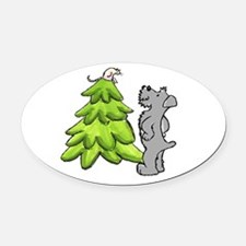 2-SchnauzerChristmas.png Oval Car Magnet