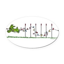 Agility Christmas Lights Oval Car Magnet