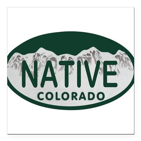 "Native Colo License Plate Square Car Magnet 3"" x 3"