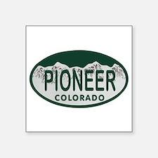 """Pioneer Colo License Plate Square Sticker 3"""" x 3"""""""