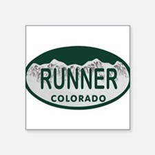 "Runner Colo License Plate Square Sticker 3"" x 3"""