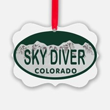 Sky Diver Colo License Plate Ornament