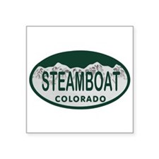 "Steamboat Colo License Plate Square Sticker 3"" x 3"