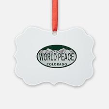 World Peace Colo License Plate Ornament