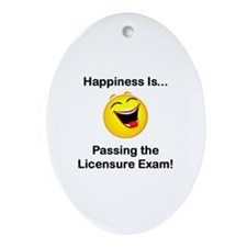 Happiness is Licensure Oval Ornament