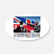 Scissors Beat Paper Oval Car Magnet