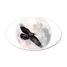 Flying Crow Oval Car Magnet