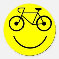 Smiley Cycle Round Car Magnet
