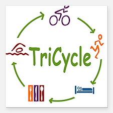 "Tri Cycle Square Car Magnet 3"" x 3"""