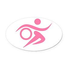 Pink Thriathlete Oval Car Magnet