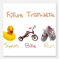 "Future Girl Triathlete Square Car Magnet 3"" x 3"""