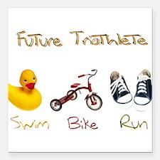 """Future Triathlete Square Car Magnet 3"""" x 3"""""""