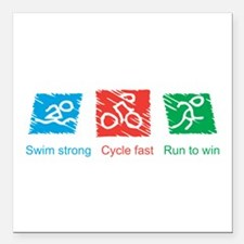 Swim Strong, Cycle Fast, Run to Win Square Car Mag