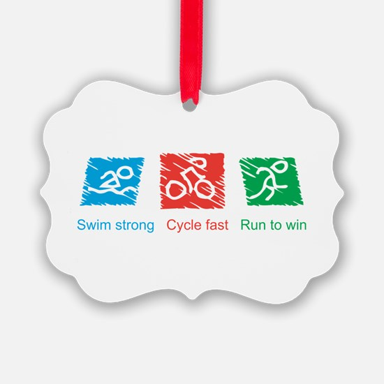 Swim Strong, Cycle Fast, Run to Win Ornament