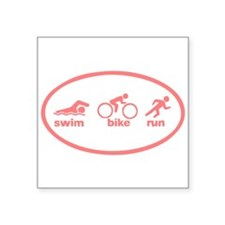 "Swim Bike Run Square Sticker 3"" x 3"""